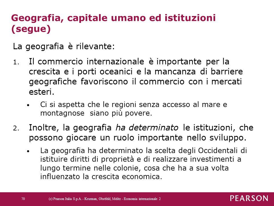 Geografia, capitale umano ed istituzioni (segue) La geografia è rilevante: 1. Il commercio internazionale è importante per la crescita e i porti ocean
