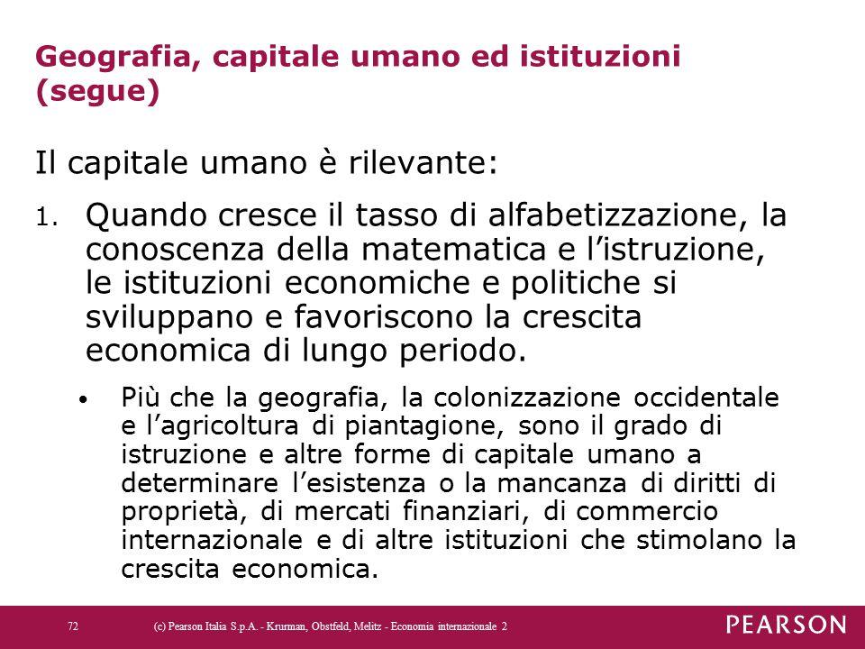 Geografia, capitale umano ed istituzioni (segue) Il capitale umano è rilevante: 1. Quando cresce il tasso di alfabetizzazione, la conoscenza della mat