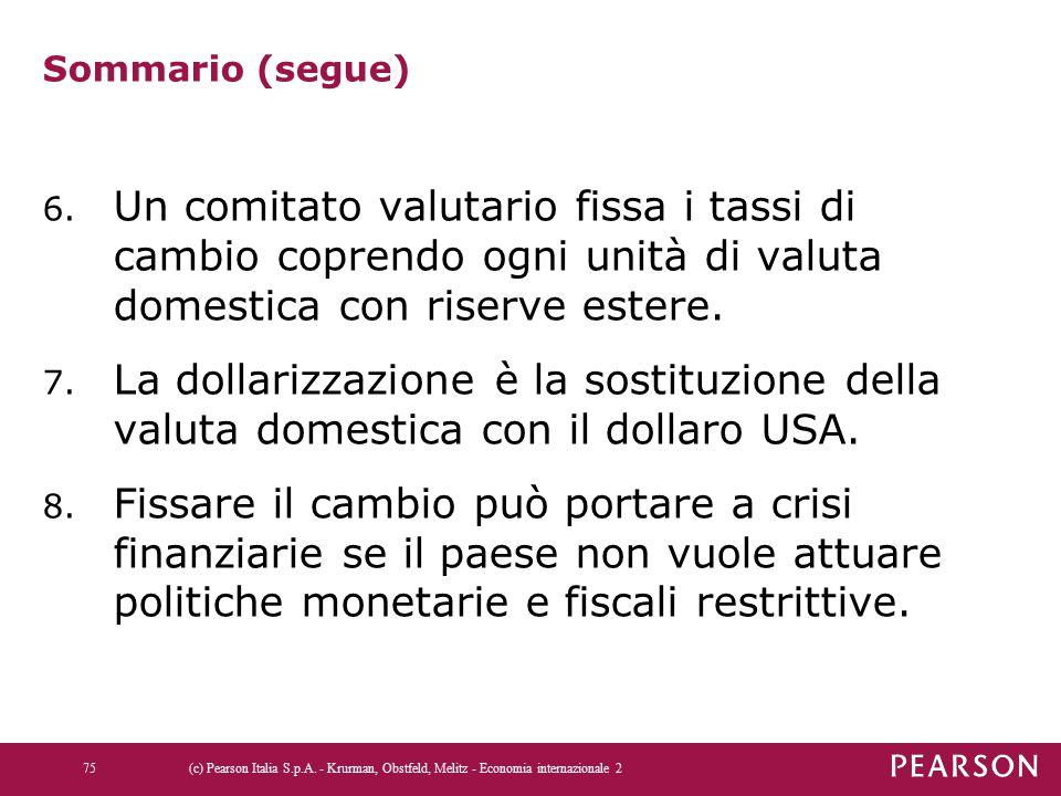 Sommario (segue) 6. Un comitato valutario fissa i tassi di cambio coprendo ogni unità di valuta domestica con riserve estere. 7. La dollarizzazione è