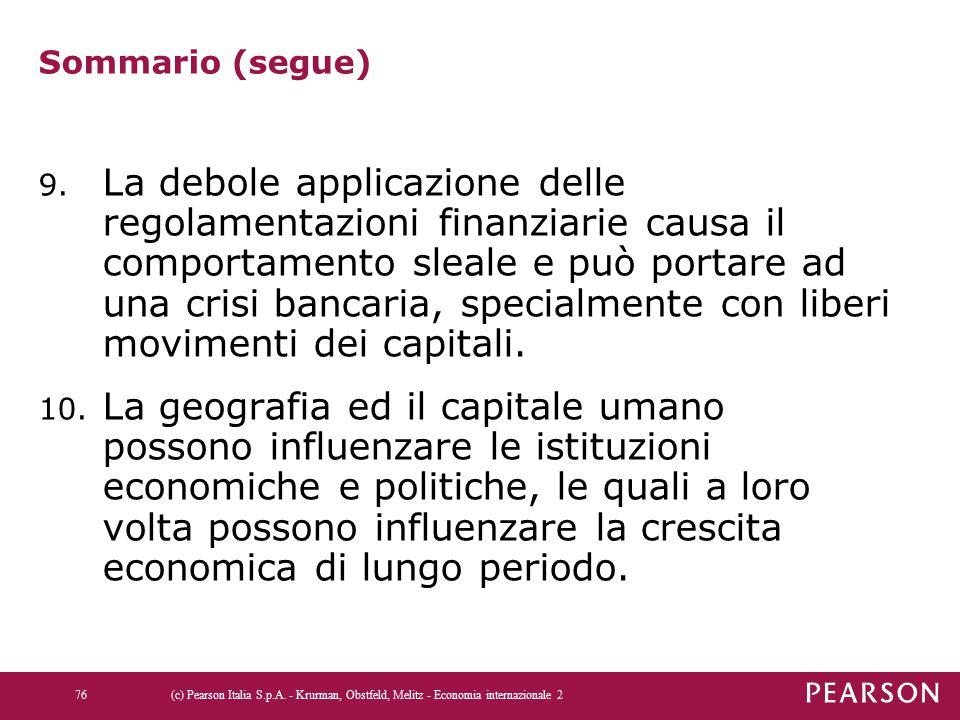 Sommario (segue) 9. La debole applicazione delle regolamentazioni finanziarie causa il comportamento sleale e può portare ad una crisi bancaria, speci