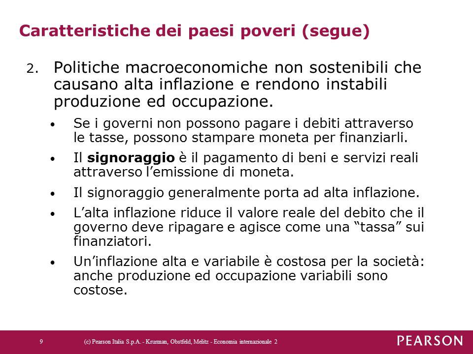 Caratteristiche dei paesi poveri (segue) 2. Politiche macroeconomiche non sostenibili che causano alta inflazione e rendono instabili produzione ed oc