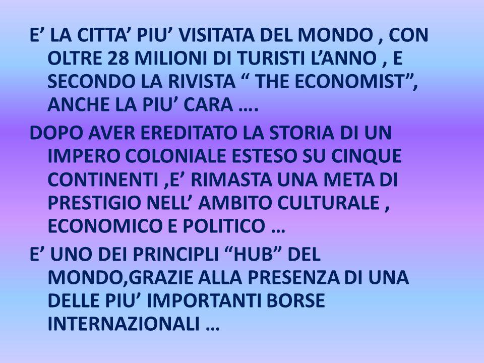 """E' LA CITTA' PIU' VISITATA DEL MONDO, CON OLTRE 28 MILIONI DI TURISTI L'ANNO, E SECONDO LA RIVISTA """" THE ECONOMIST"""", ANCHE LA PIU' CARA …. DOPO AVER E"""