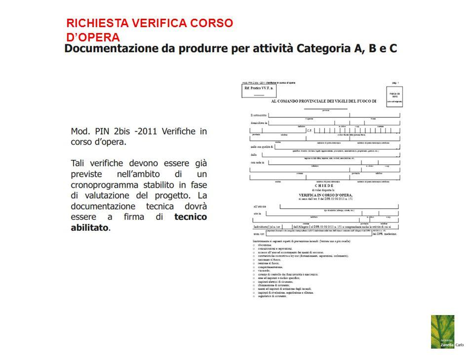 RICHIESTA VERIFICA CORSO D'OPERA