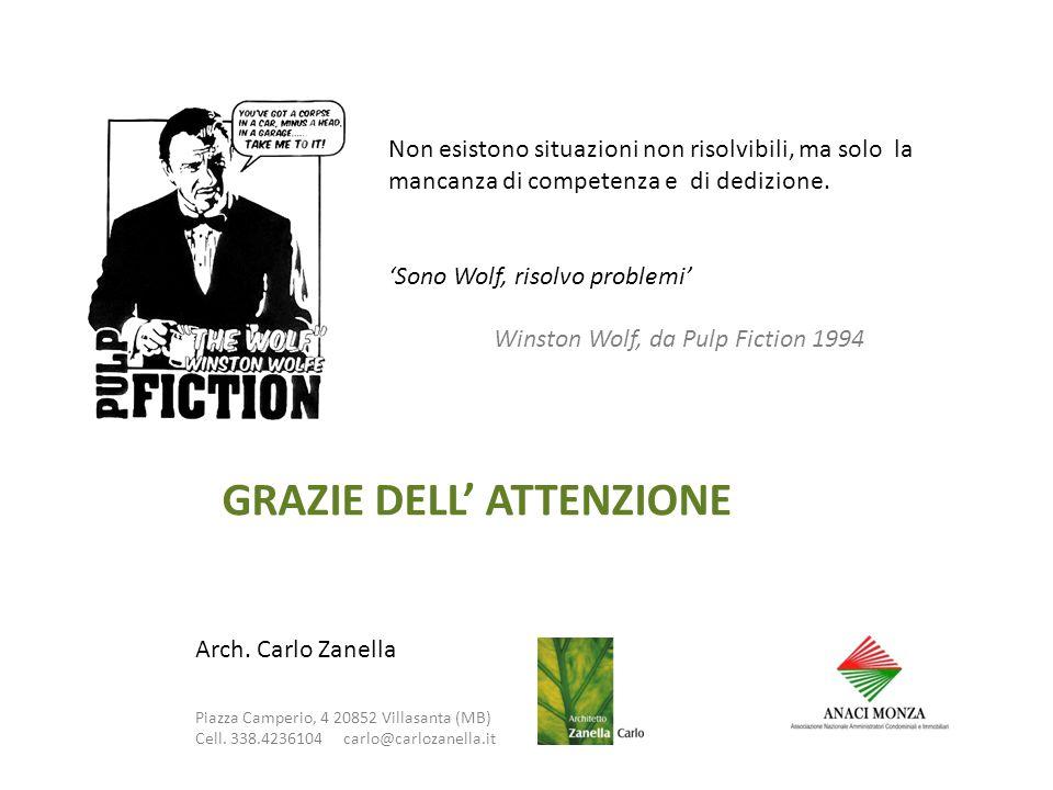 GRAZIE DELL' ATTENZIONE Arch. Carlo Zanella Piazza Camperio, 4 20852 Villasanta (MB) Cell.