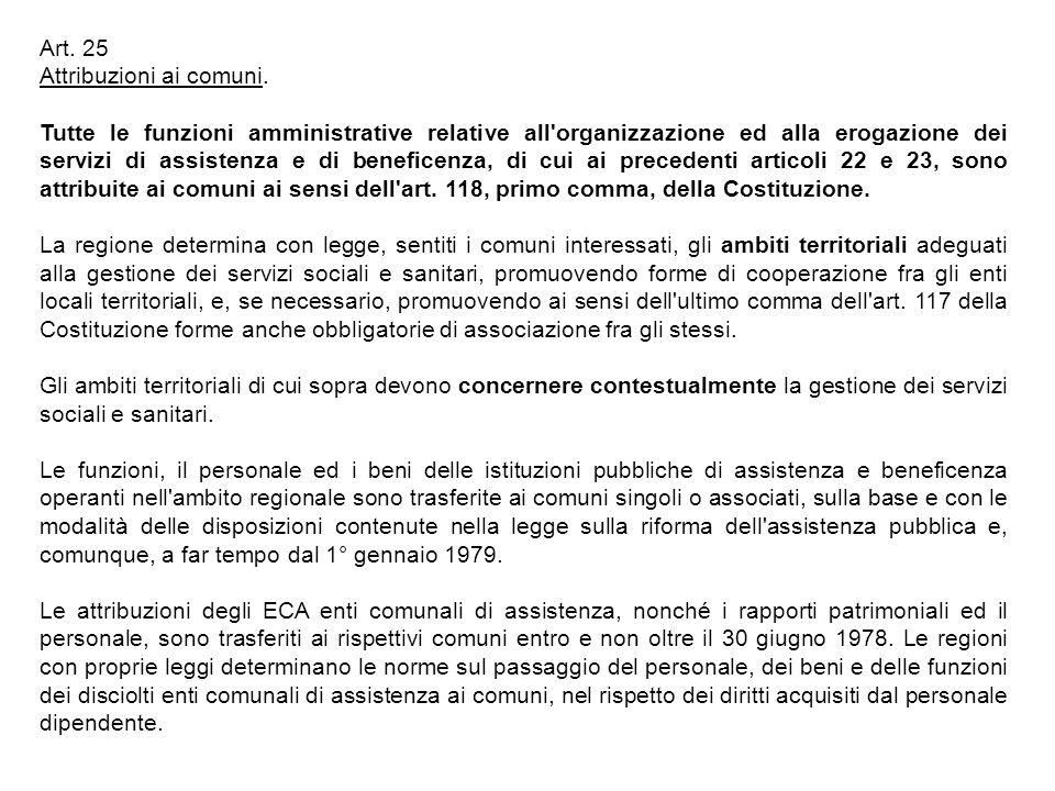 Art. 25 Attribuzioni ai comuni. Tutte le funzioni amministrative relative all'organizzazione ed alla erogazione dei servizi di assistenza e di benefic