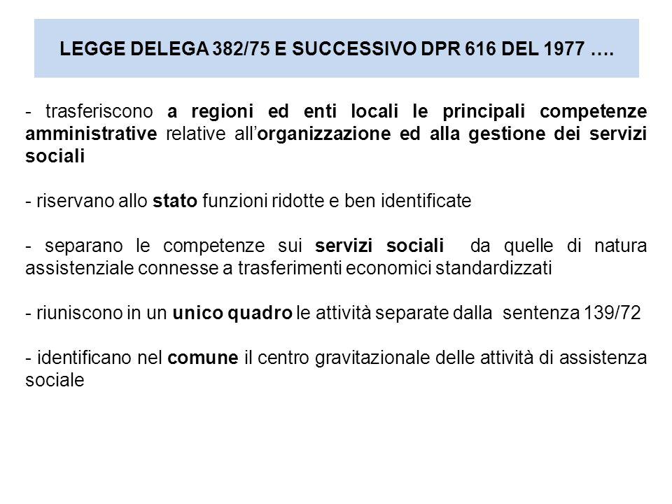 LEGGE DELEGA 382/75 E SUCCESSIVO DPR 616 DEL 1977 …. - trasferiscono a regioni ed enti locali le principali competenze amministrative relative all'org