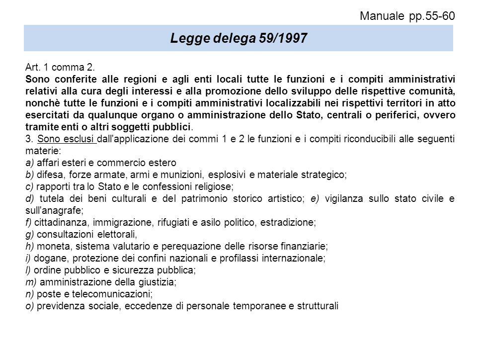 Legge delega 59/1997 Art. 1 comma 2. Sono conferite alle regioni e agli enti locali tutte le funzioni e i compiti amministrativi relativi alla cura de