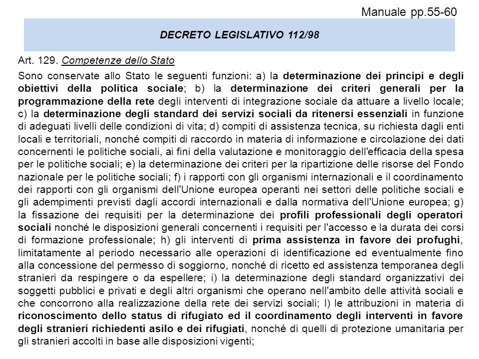 DECRETO LEGISLATIVO 112/98 Art. 129. Competenze dello Stato Sono conservate allo Stato le seguenti funzioni: a) la determinazione dei principi e degli