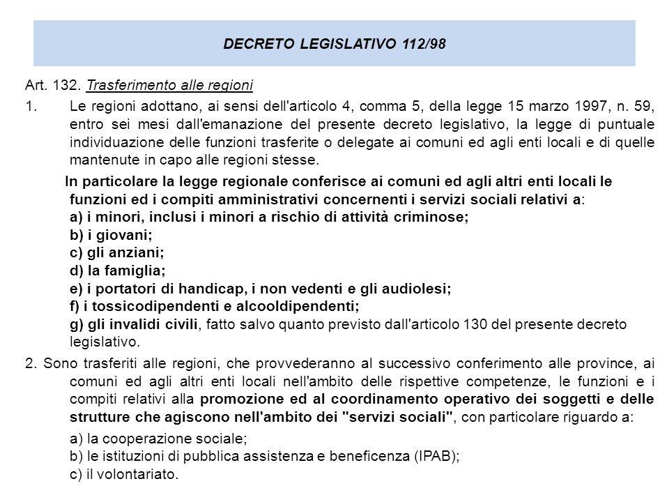 DECRETO LEGISLATIVO 112/98 Art. 132. Trasferimento alle regioni 1.Le regioni adottano, ai sensi dell'articolo 4, comma 5, della legge 15 marzo 1997, n