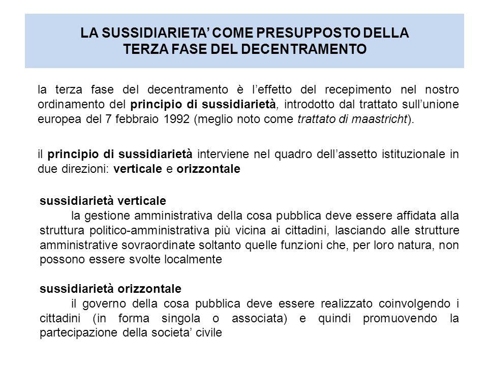 la terza fase del decentramento è l'effetto del recepimento nel nostro ordinamento del principio di sussidiarietà, introdotto dal trattato sull'unione