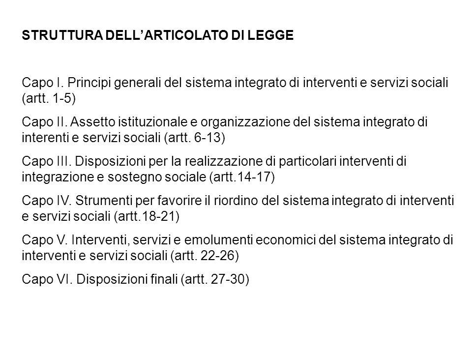 STRUTTURA DELL'ARTICOLATO DI LEGGE Capo I. Principi generali del sistema integrato di interventi e servizi sociali (artt. 1-5) Capo II. Assetto istitu