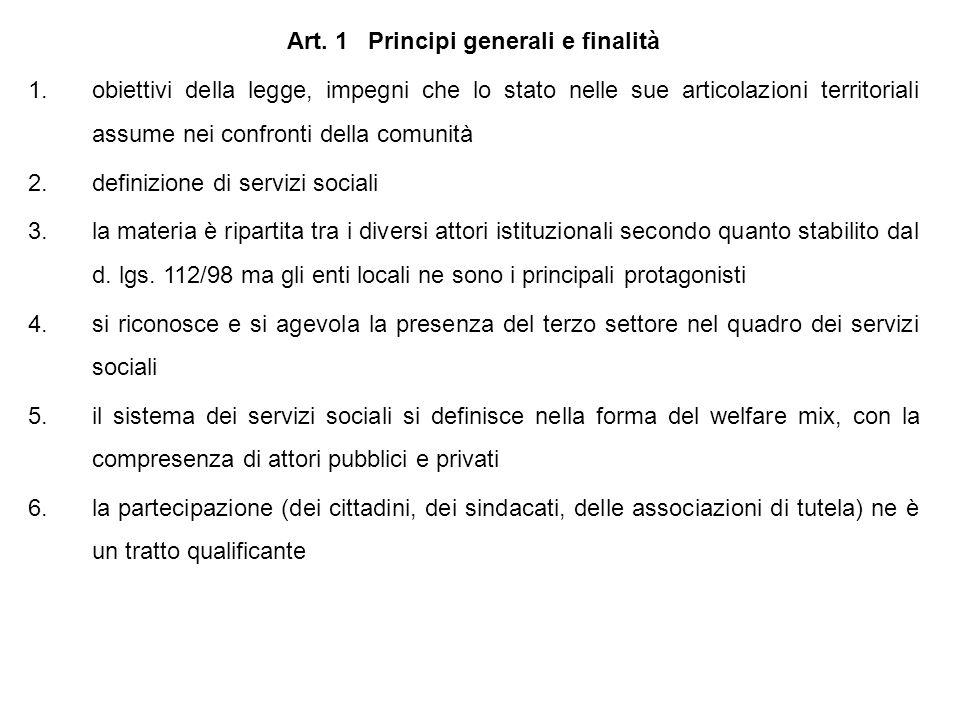 Art. 1 Principi generali e finalità 1.obiettivi della legge, impegni che lo stato nelle sue articolazioni territoriali assume nei confronti della comu