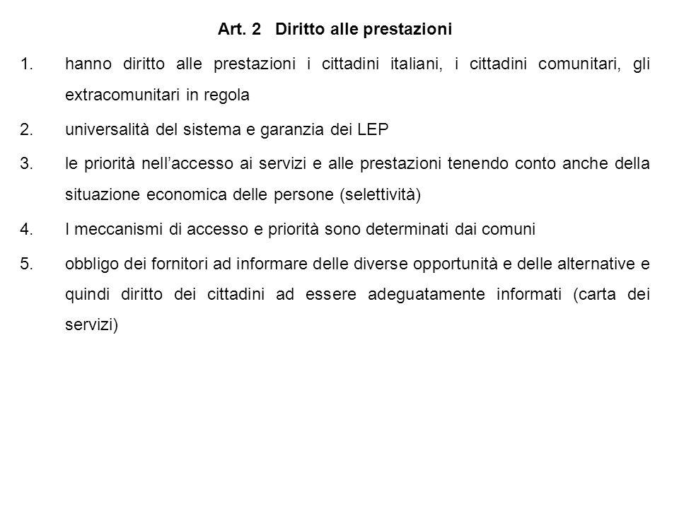 Art. 2 Diritto alle prestazioni 1.hanno diritto alle prestazioni i cittadini italiani, i cittadini comunitari, gli extracomunitari in regola 2.univers