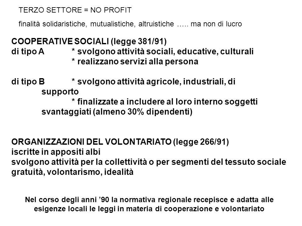 COOPERATIVE SOCIALI (legge 381/91) di tipo A* svolgono attività sociali, educative, culturali * realizzano servizi alla persona di tipo B* svolgono at