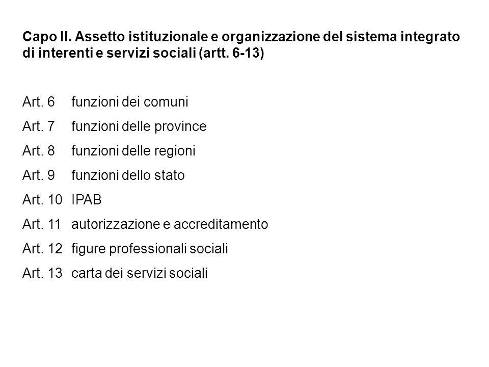 Capo II. Assetto istituzionale e organizzazione del sistema integrato di interenti e servizi sociali (artt. 6-13) Art. 6funzioni dei comuni Art. 7 fun