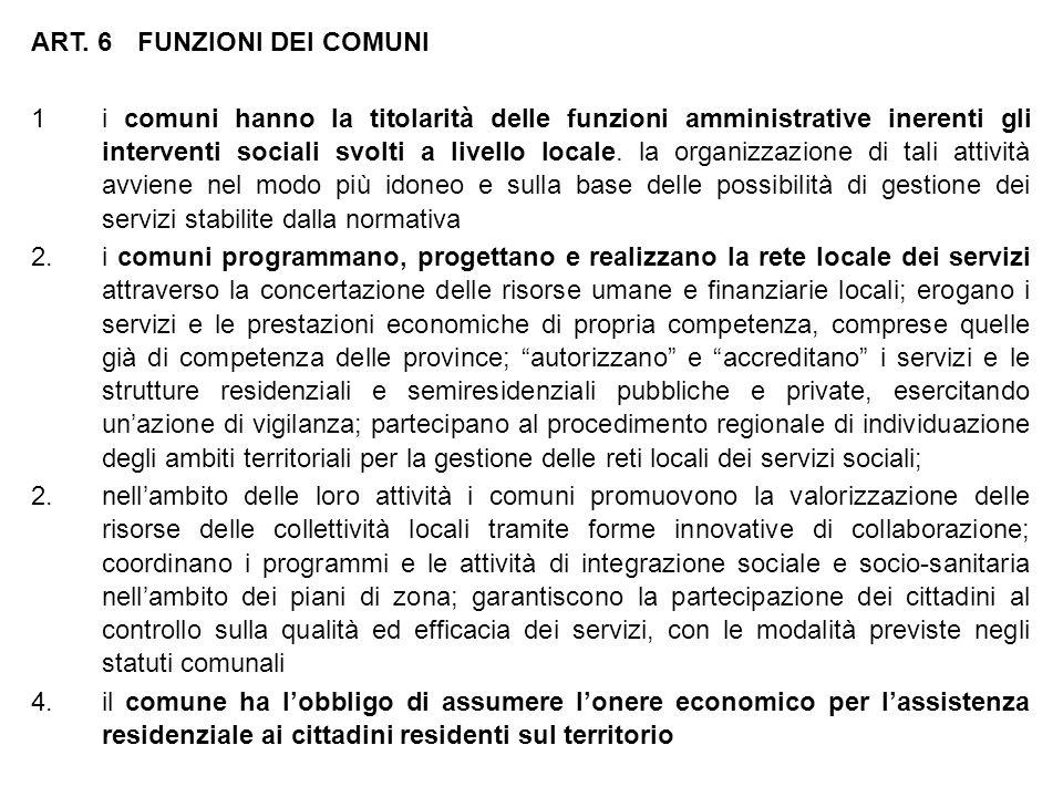 ART. 6 FUNZIONI DEI COMUNI 1i comuni hanno la titolarità delle funzioni amministrative inerenti gli interventi sociali svolti a livello locale. la org