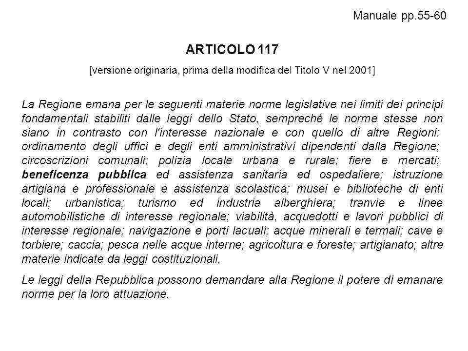 ARTICOLO 117 [versione originaria, prima della modifica del Titolo V nel 2001] La Regione emana per le seguenti materie norme legislative nei limiti d