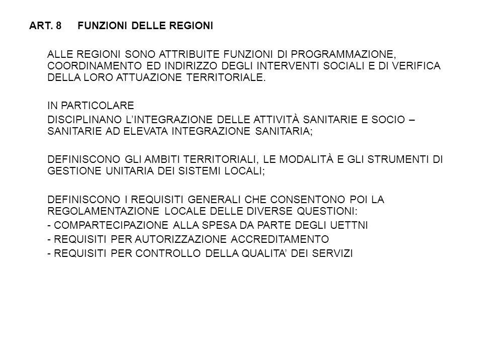 ART. 8 FUNZIONI DELLE REGIONI ALLE REGIONI SONO ATTRIBUITE FUNZIONI DI PROGRAMMAZIONE, COORDINAMENTO ED INDIRIZZO DEGLI INTERVENTI SOCIALI E DI VERIFI