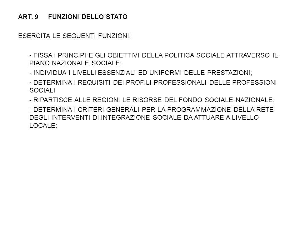 ART. 9 FUNZIONI DELLO STATO ESERCITA LE SEGUENTI FUNZIONI: - FISSA I PRINCIPI E GLI OBIETTIVI DELLA POLITICA SOCIALE ATTRAVERSO IL PIANO NAZIONALE SOC
