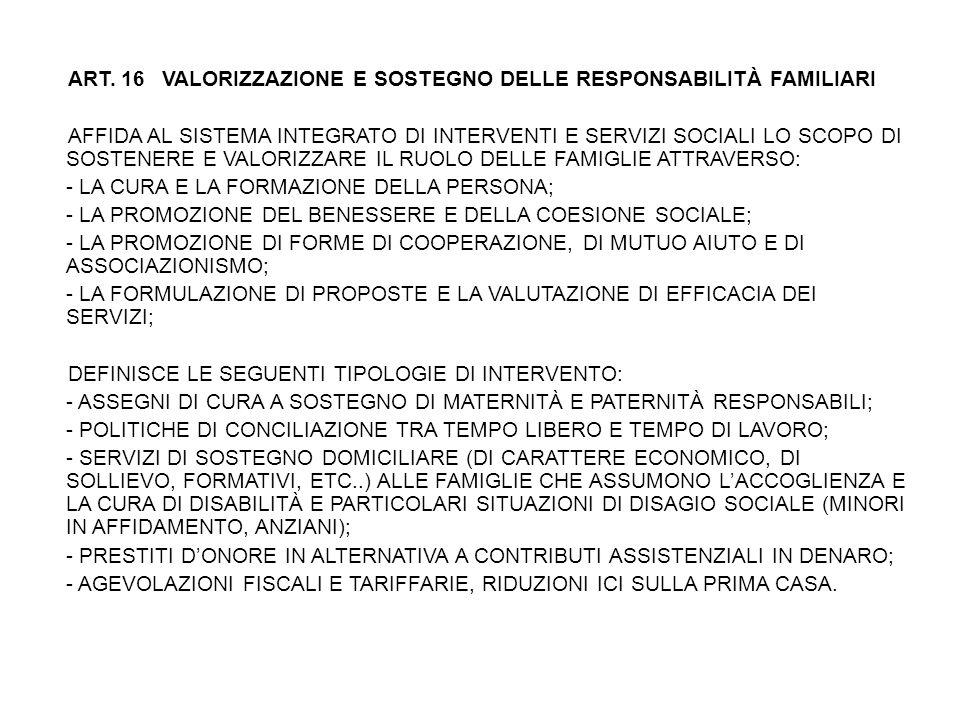 ART. 16 VALORIZZAZIONE E SOSTEGNO DELLE RESPONSABILITÀ FAMILIARI AFFIDA AL SISTEMA INTEGRATO DI INTERVENTI E SERVIZI SOCIALI LO SCOPO DI SOSTENERE E V