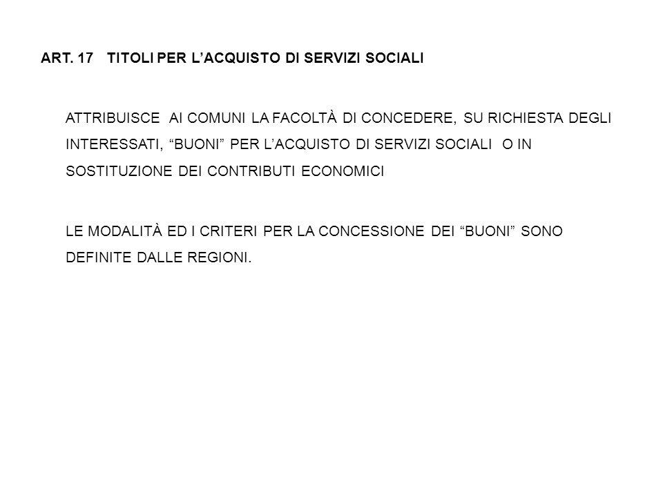 """ART. 17 TITOLI PER L'ACQUISTO DI SERVIZI SOCIALI ATTRIBUISCE AI COMUNI LA FACOLTÀ DI CONCEDERE, SU RICHIESTA DEGLI INTERESSATI, """"BUONI"""" PER L'ACQUISTO"""