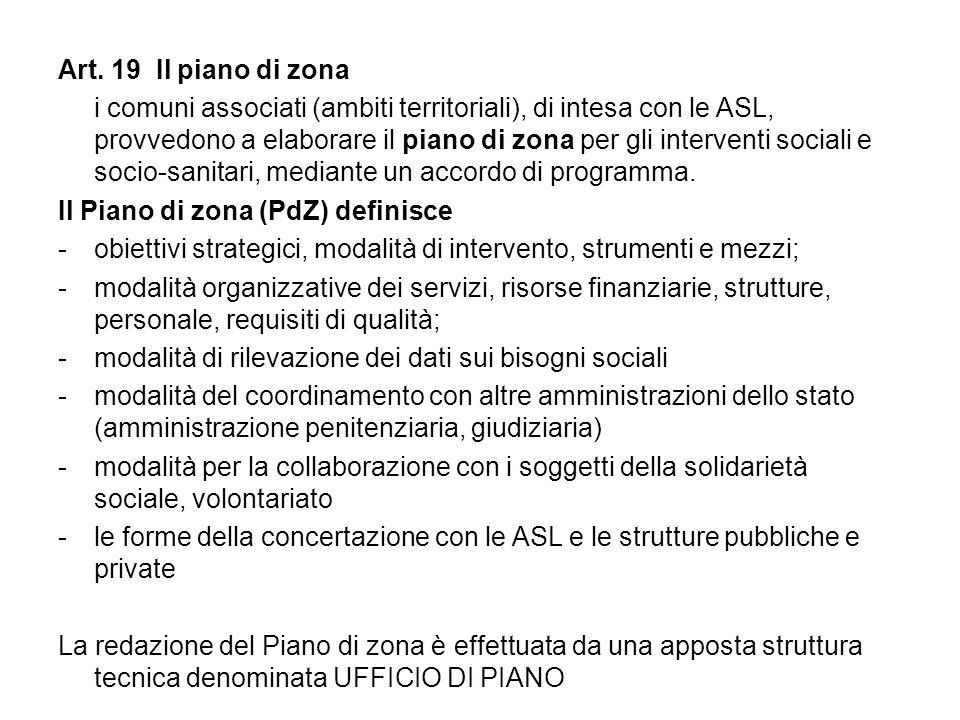 Art. 19 Il piano di zona i comuni associati (ambiti territoriali), di intesa con le ASL, provvedono a elaborare il piano di zona per gli interventi so