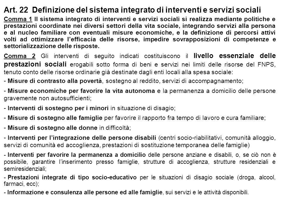Art. 22 Definizione del sistema integrato di interventi e servizi sociali Comma 1 Il sistema integrato di interventi e servizi sociali si realizza med