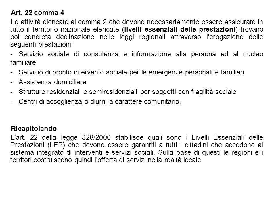 Art. 22 comma 4 Le attività elencate al comma 2 che devono necessariamente essere assicurate in tutto il territorio nazionale elencate (livelli essenz