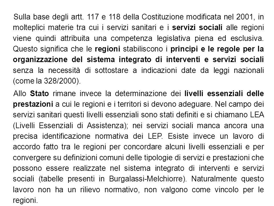 Sulla base degli artt. 117 e 118 della Costituzione modificata nel 2001, in molteplici materie tra cui i servizi sanitari e i servizi sociali alle reg