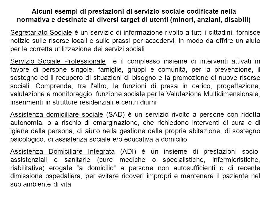 Alcuni esempi di prestazioni di servizio sociale codificate nella normativa e destinate ai diversi target di utenti (minori, anziani, disabili) Segret