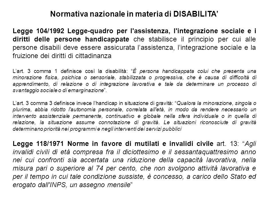 Normativa nazionale in materia di DISABILITA' Legge 104/1992 Legge-quadro per l'assistenza, l'integrazione sociale e i diritti delle persone handicapp