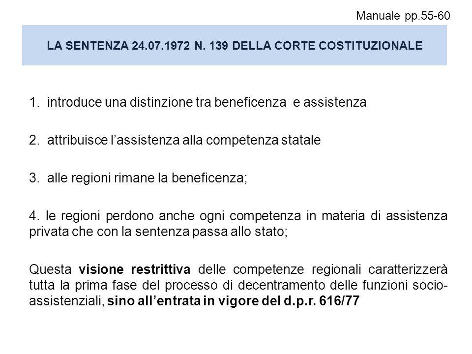 LA SENTENZA 24.07.1972 N. 139 DELLA CORTE COSTITUZIONALE 1. introduce una distinzione tra beneficenza e assistenza 2. attribuisce l'assistenza alla co