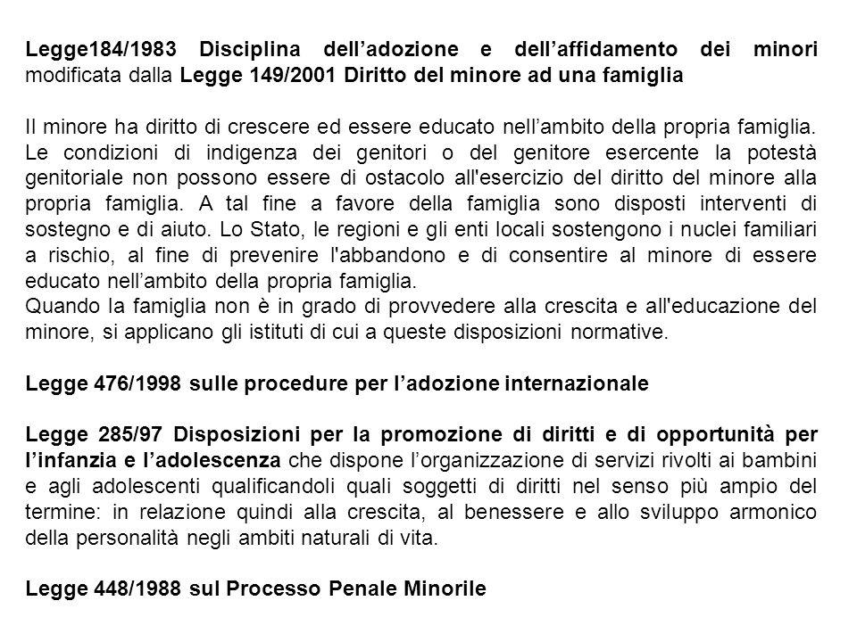 Legge184/1983 Disciplina dell'adozione e dell'affidamento dei minori modificata dalla Legge 149/2001 Diritto del minore ad una famiglia Il minore ha d