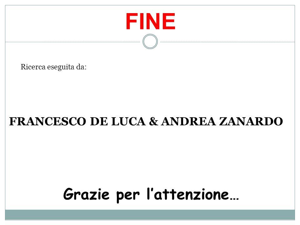FINE Ricerca eseguita da: FRANCESCO DE LUCA & ANDREA ZANARDO Grazie per l'attenzione…
