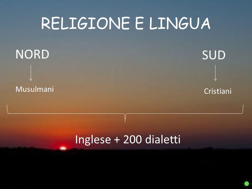 RELIGIONE E LINGUA NORD Musulmani SUD Cristiani Inglese + 200 dialetti