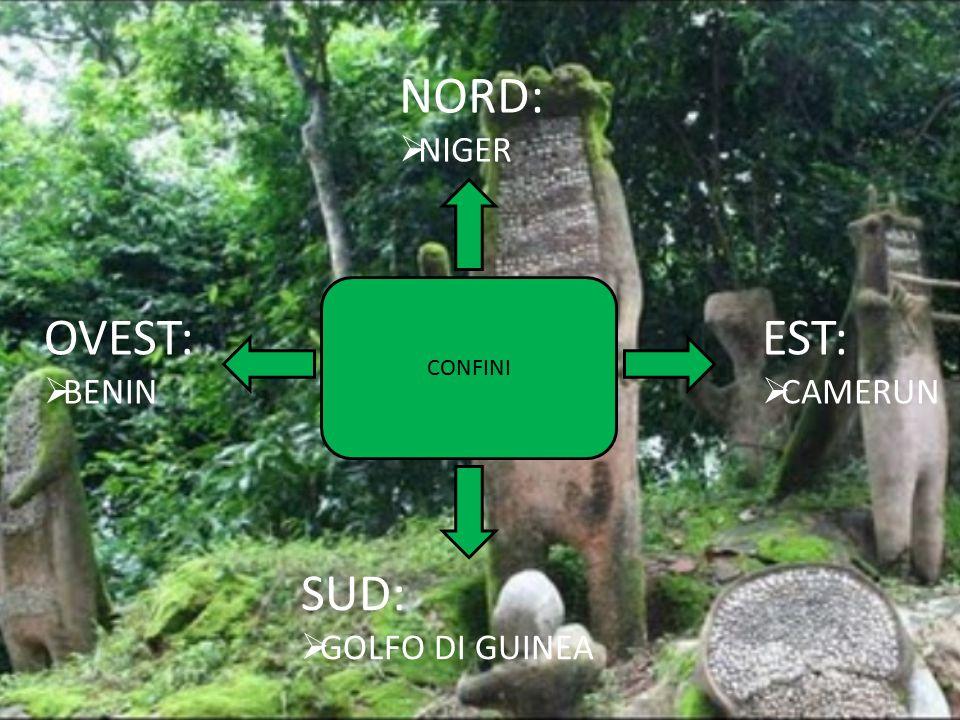 NORD:  NIGER OVEST:  BENIN SUD:  GOLFO DI GUINEA EST:  CAMERUN CONFINI