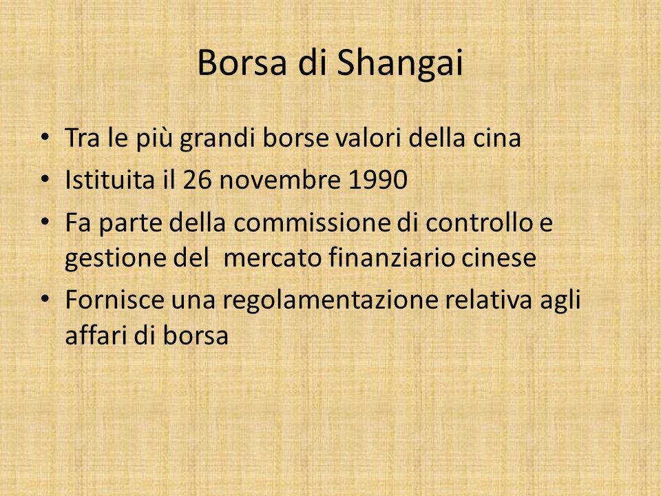 Borsa di Shangai Tra le più grandi borse valori della cina Istituita il 26 novembre 1990 Fa parte della commissione di controllo e gestione del mercato finanziario cinese Fornisce una regolamentazione relativa agli affari di borsa