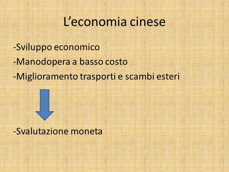 L'economia cinese -Sviluppo economico -Manodopera a basso costo -Miglioramento trasporti e scambi esteri -Svalutazione moneta
