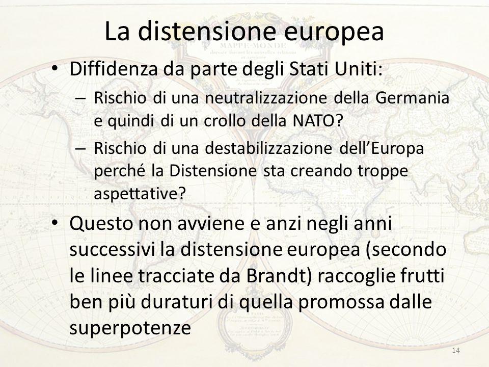 La distensione europea Diffidenza da parte degli Stati Uniti: – Rischio di una neutralizzazione della Germania e quindi di un crollo della NATO? – Ris