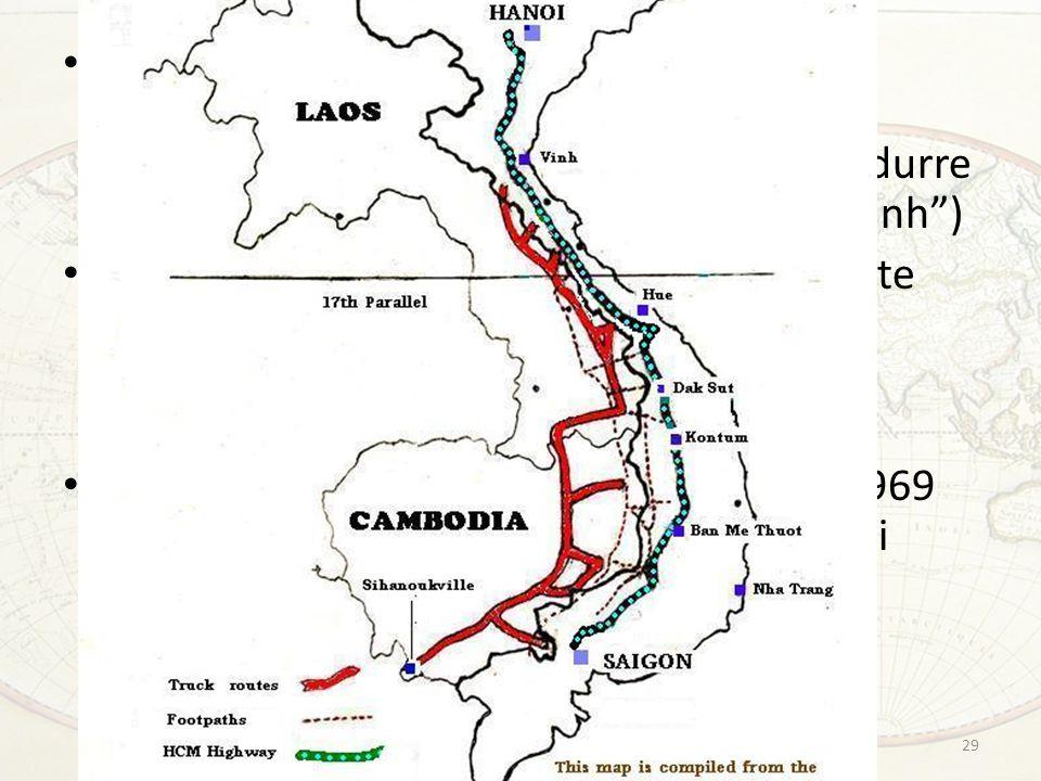 Tacita approvazione della costruzione di santuari nord-vietnamiti, e soprattutto dell'utilizzo del proprio territorio per condurre operazioni militari ( sentiero di Ho Chi Minh ) Il Presidente Johnson aveva espressamente rifiutato l'ipotesi che i suoi generali gli avevano prospettato: colpire le unità vietnamite in Cambogia Nixon al contrario ordina nell'aprile del 1969 una campagna segreta di bombardamenti 29