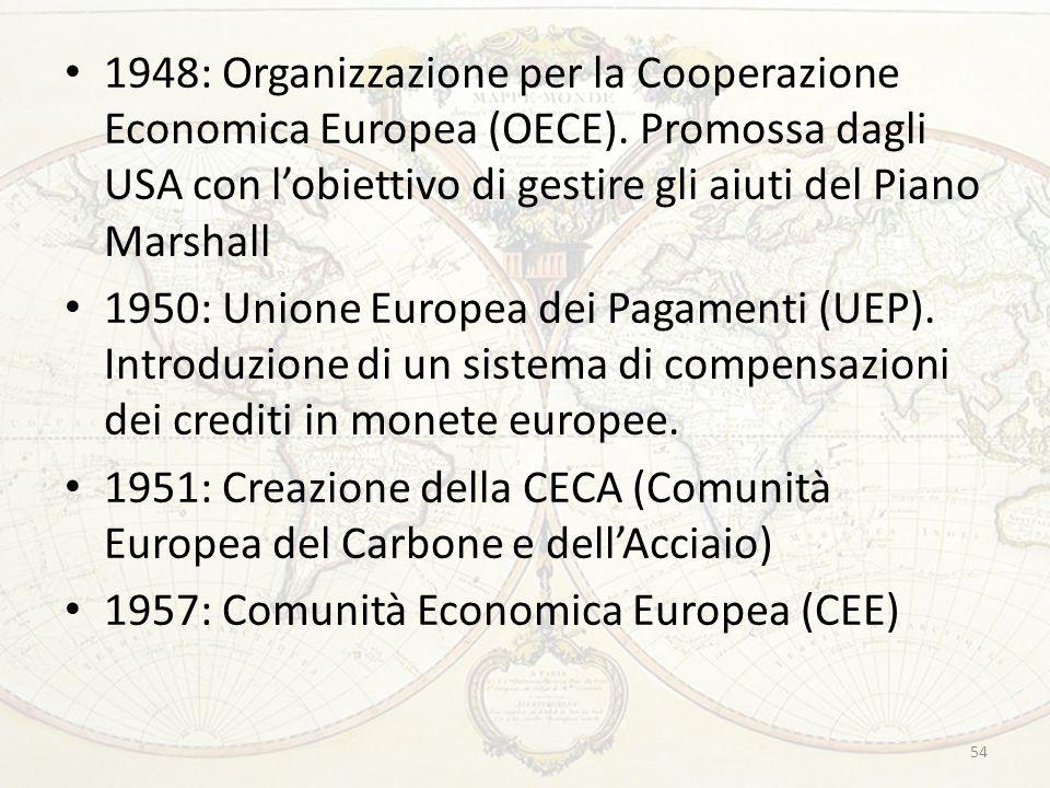 1948: Organizzazione per la Cooperazione Economica Europea (OECE). Promossa dagli USA con l'obiettivo di gestire gli aiuti del Piano Marshall 1950: Un
