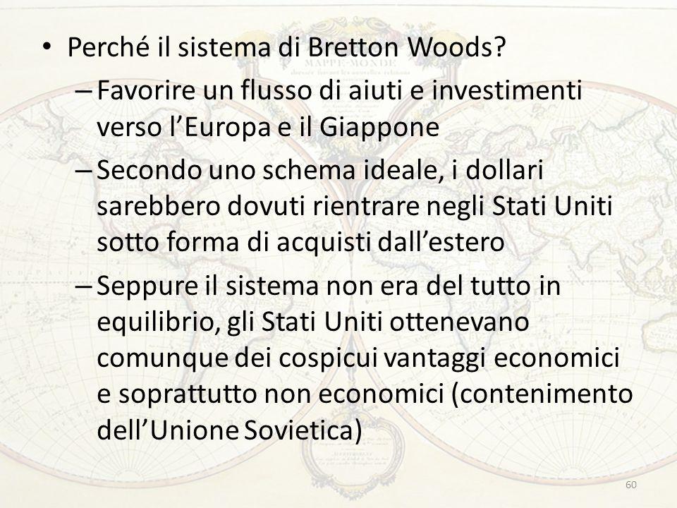 Perché il sistema di Bretton Woods? – Favorire un flusso di aiuti e investimenti verso l'Europa e il Giappone – Secondo uno schema ideale, i dollari s