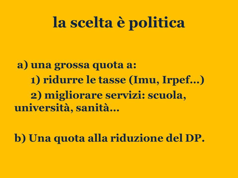 la scelta è politica a) una grossa quota a: 1) ridurre le tasse (Imu, Irpef…) 2) migliorare servizi: scuola, università, sanità… b) Una quota alla riduzione del DP.