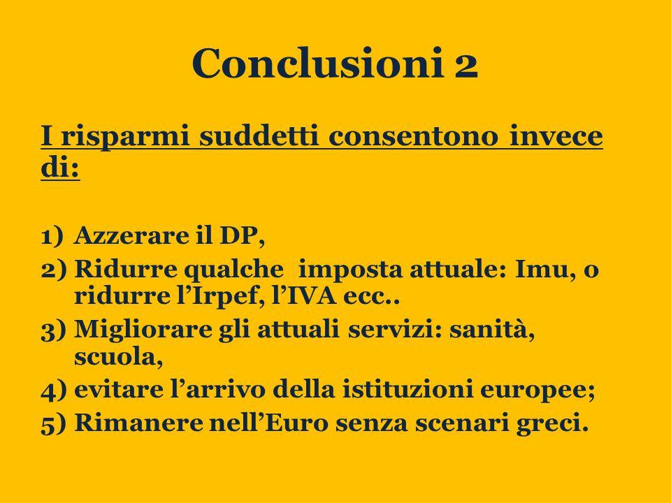 Conclusioni 2 I risparmi suddetti consentono invece di: 1)Azzerare il DP, 2)Ridurre qualche imposta attuale: Imu, o ridurre l'Irpef, l'IVA ecc..