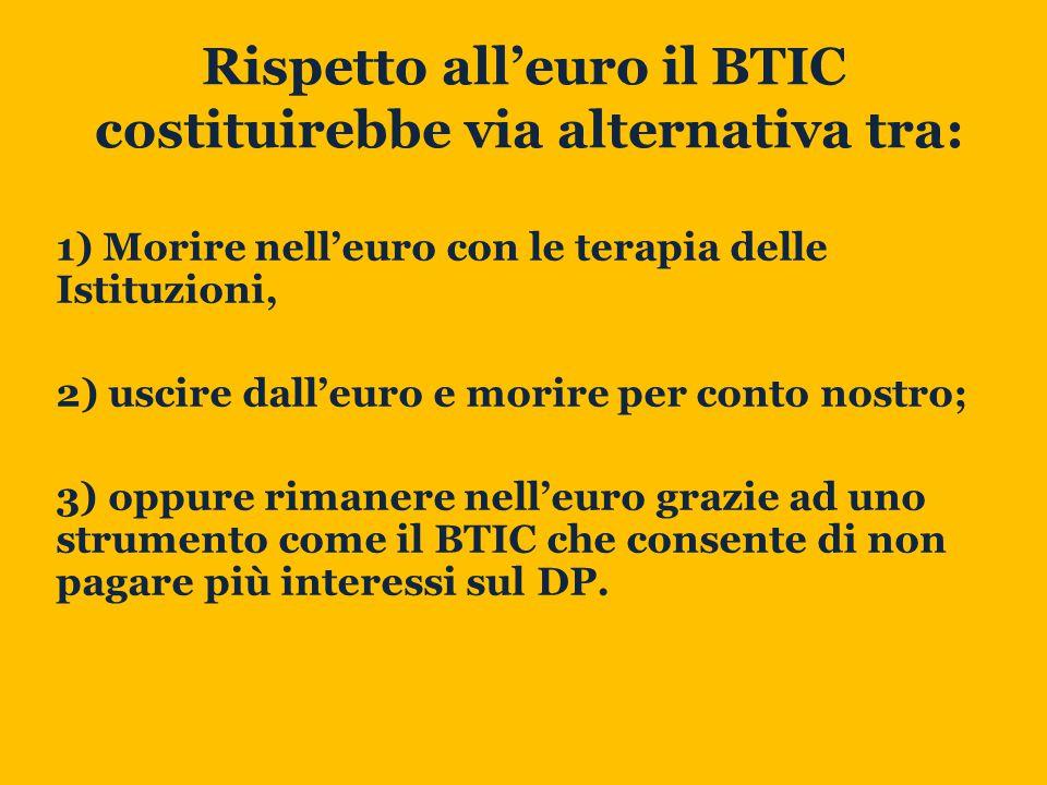 Rispetto all'euro il BTIC costituirebbe via alternativa tra: 1) Morire nell'euro con le terapia delle Istituzioni, 2) uscire dall'euro e morire per conto nostro; 3) oppure rimanere nell'euro grazie ad uno strumento come il BTIC che consente di non pagare più interessi sul DP.