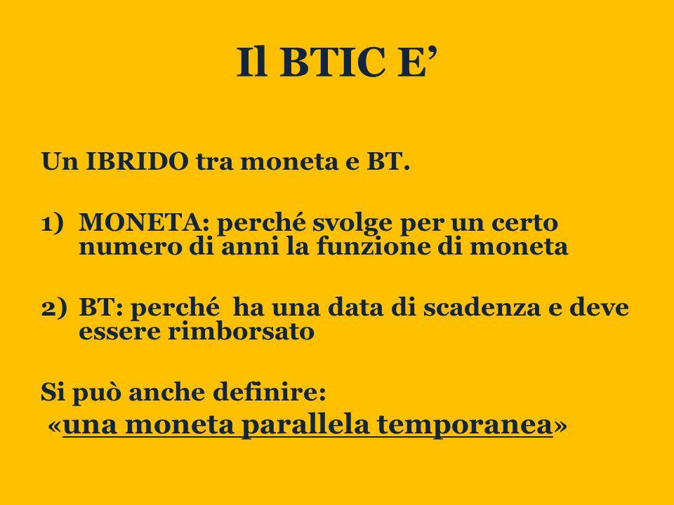 Il BTIC E' Un IBRIDO tra moneta e BT.
