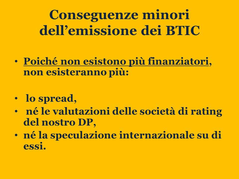 Conseguenze minori dell'emissione dei BTIC Poiché non esistono più finanziatori, non esisteranno più: lo spread, né le valutazioni delle società di rating del nostro DP, né la speculazione internazionale su di essi.