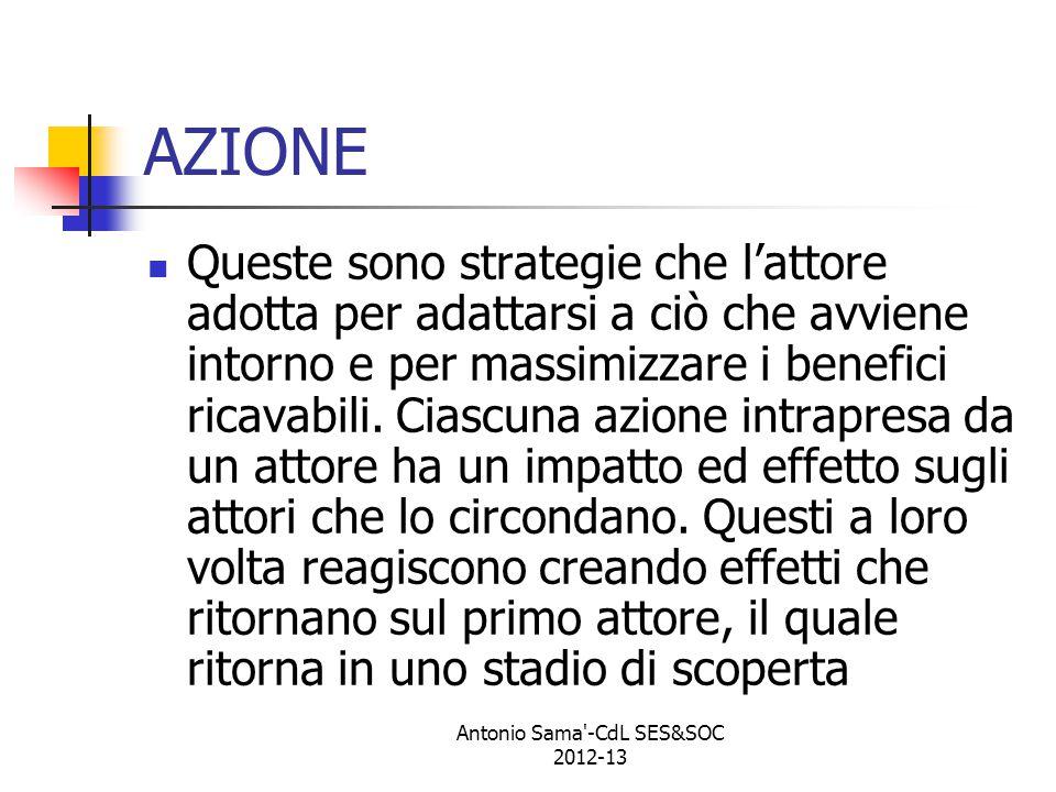 Antonio Sama -CdL SES&SOC 2012-13 AZIONE Queste sono strategie che l'attore adotta per adattarsi a ciò che avviene intorno e per massimizzare i benefici ricavabili.