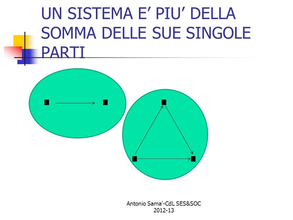 UN SISTEMA E' PIU' DELLA SOMMA DELLE SUE SINGOLE PARTI........... Antonio Sama -CdL SES&SOC 2012-13