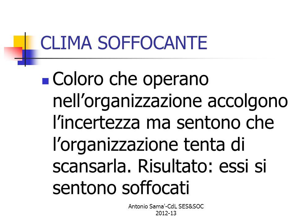 Antonio Sama -CdL SES&SOC 2012-13 CLIMA SOFFOCANTE Coloro che operano nell'organizzazione accolgono l'incertezza ma sentono che l'organizzazione tenta di scansarla.